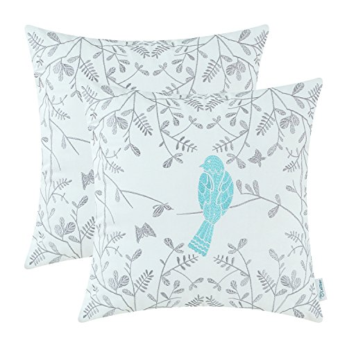 CaliTime Pack of 2 Cotton Throw Pillow Cases Covers for Bed Couch Sofa Cute Bird in Gray Garden Embroidered 18 X 18 Inches Turquoise (Rustic Turquoise Throw Pillows)