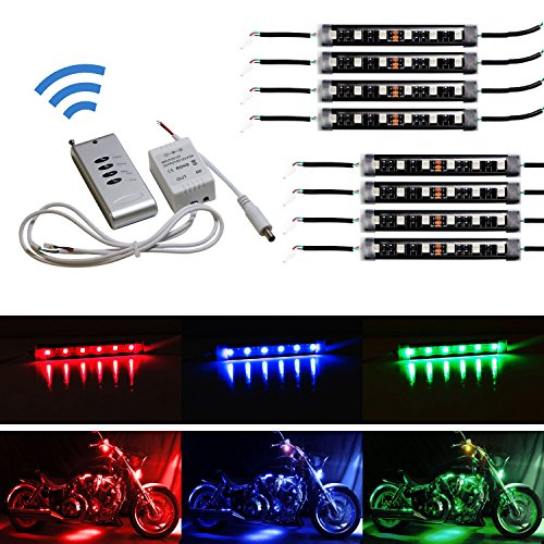 iJDMTOY 8pcs RGB Multi-Color LED Motorcycle Ground Effect Light Kit w/ Wireless Remote Control - Light Ground Effect Kit