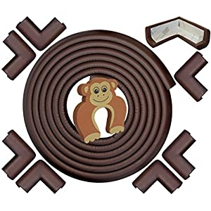 Edge & Corner Guards Set - EXTRA LONG 22.0ft Coverage Incl 8 Pre-Taped Corners | COFFEE Brown | Child Safety Baby Proofing | Table Sharp Edges Protector, Furniture Edge Corner Bumper Guard