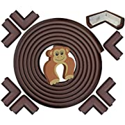 JUMBO Edge & Corner Guards Set - EXTRA LONG 22.0ft Coverage Incl 8 Pre-Taped Corners | COFFEE Brown | Child Safety Baby Proofing | Table Sharp Edges Protector, Furniture Edge Corner Bumper Guard