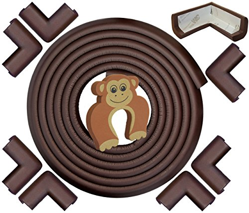 Edge & Corner Guards Set - EXTRA LONG 22.0ft Coverage Incl 8 Pre-Taped Corners | COFFEE Brown | Child Safety Baby Proofing | Table Sharp Edges Protector, Furniture Edge Corner (Baby Bumper)