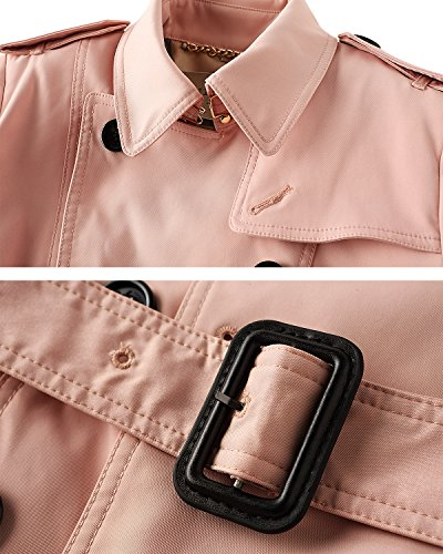 Vent boutonnage Coat Rose ceinture Trench double Femme manteaux avec qZSng4OW