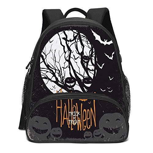 Vintage Halloween Durable Kids Backpack,Halloween Themed Image with Full Moon and Jack o Lanterns on a Tree Decorative for School Travel,10