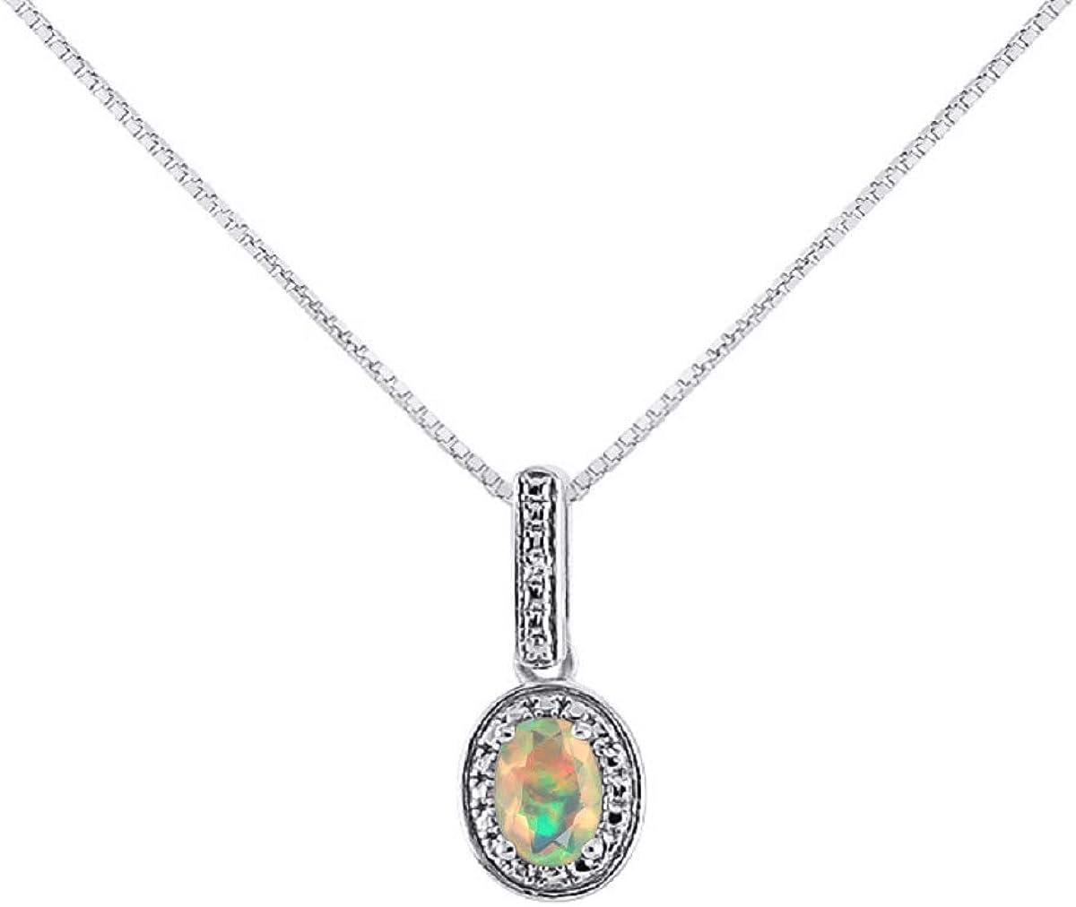 Collar con colgante de diamante y ópalo africano en oro blanco de 14 quilates con cadena de oro de 18 pulgadas – Piedra natal de octubre, diseño de halo