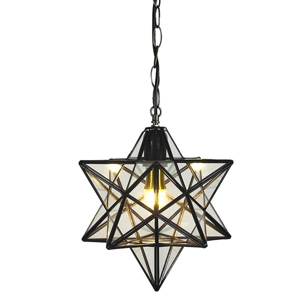12 inch Moravian Star Pendant Light Ceiling Hanging Drop Lighting Fixture for Kitchen Island Living Room Bedroom Hallway Clear Glass Light Shade LED Bulb Included (30CM Pendant Light)