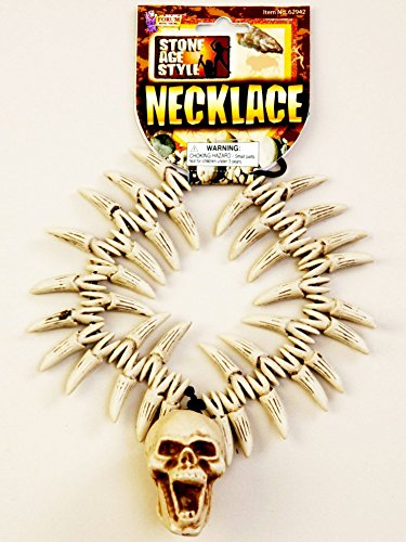 (Forum Novelties Party Supplies 62942 Stone Age Teeth & Skull Necklace, Standard, Multi, Pack of 1 )