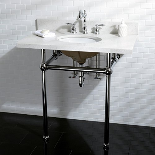 Kingston brass white quartz 36 inch wall mount pedestal for Pedestal sink with metal legs