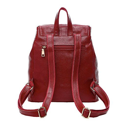 2016 Leather Travel Women's Sports Soft Casual Purse 3018 red Spring Backpack Wine Missmay Genuine SqURwTCxR