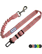 Zenify Dog Car Seat Belt Seatbelt Lead Puppy Harness - Extendable Bungee Adjustable Carseat Clip Buckle Leash for Dogs Puppies Pets Travel - Pet Safe Collar Accessories Supplies Truck Safety
