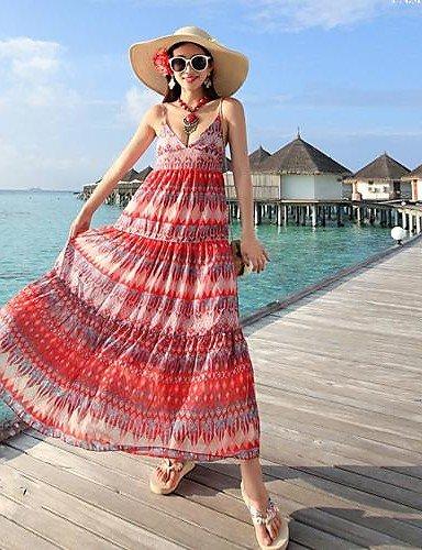 skt-swimwear Tief V-Ausschnitt Show dünn gedruckt Kleider Bohemian Condole Gürtel Chiffon zu wischen The Seaside holidaybeach Kleid
