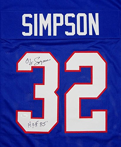 O. J. Simpson Autographed Blue Pro Style Jersey W/ HOF JSA Witnessed Auth
