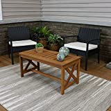 Sunnydaze Meranti Wood Outdoor Patio Coffee Table