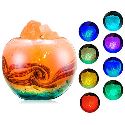 FANHAO Upgrade Himalayan Salt Lamp, Hand-Painted Glass Container Crystal Salt Lamps with 7 Colors...