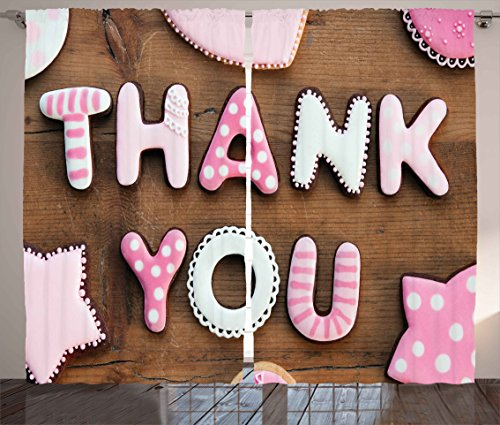 Ambesonne Thank You Decor Curtains, Romantic Sweet Cookie Le