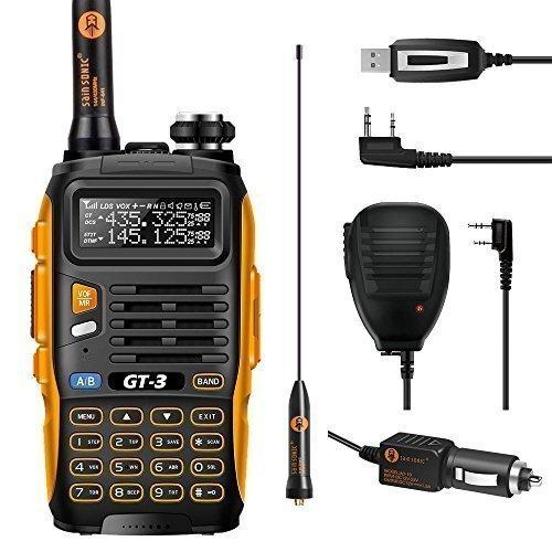 2014 Mark II Baofeng GT-3 UHF/VHF Dual Band Funkgerät Two Way Radio Walkie Talkie PMR (USB ProgrammierKabel und Remote Speaker Mikrophon enthaltend)