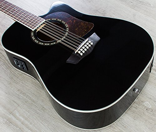 Washburn HD10SCE12B Heritage 10 Series 12-String Acoustic Electric Guitar Black