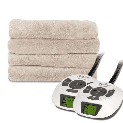 Sunbeam LoftTec Premium Soft Electric Heated Blanket, Queen Size Sand Tan - Sunbeam Tan Blanket