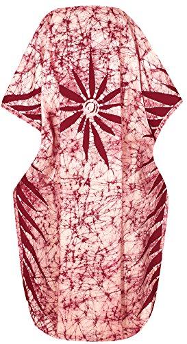 vestito in costume Marrone notte sopra kimono batik donne party 5 1 beach letto turbolenza corto cotone camicia Kaftano tunica indumenti LEELA bagno caraibi costume t148 100 più casuale bagno LA coprire leggera wSqAxH7W0
