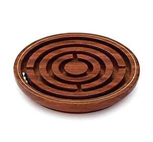 SouvNear Brain Teaser Hand and Eye Coordination Brain Game Gifts under 15 Dollars - Wooden Labyrinth Board Game Ball in Maze Puzzle Handcrafted in India