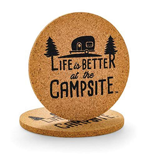 - Camco Life Is Better at The Campsite Cork Round Drink Coaster - Fun Retro RV Logo Design | Great for Rving, Camping, Outdoor Cooking and Grilling and More - 2 Pack (53229)