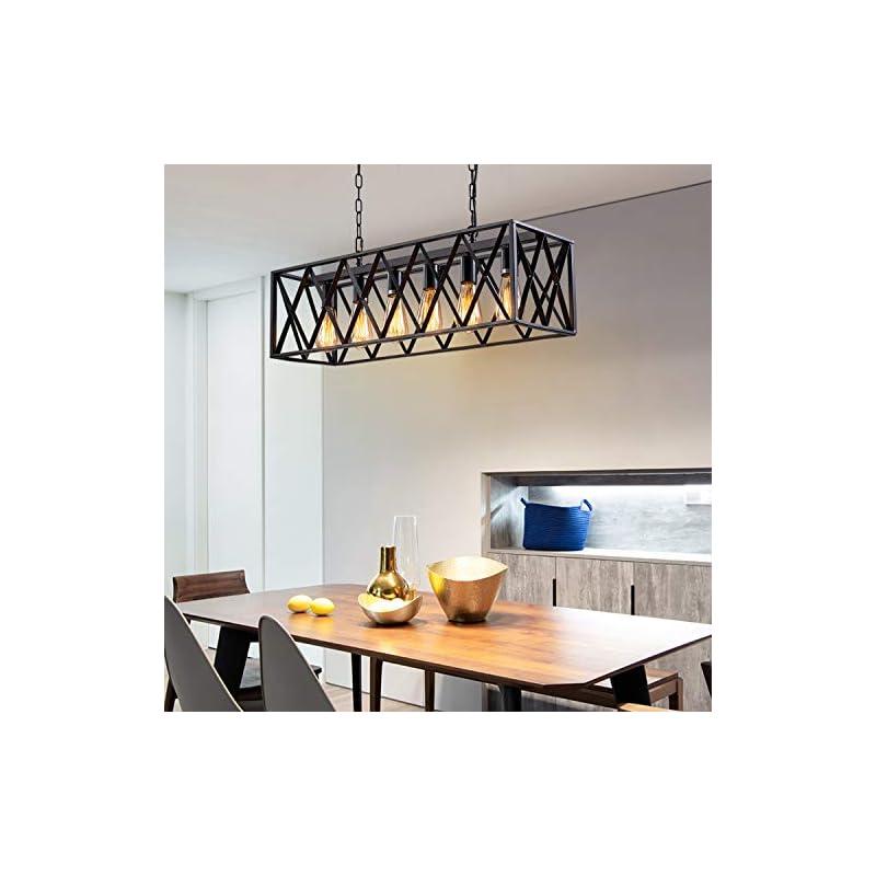 Industrial Kitchen Island Pendant Lighting, Pynsseu Rectangular Vintage Rustic 6-Light Hanging Pendant Light Fixtures…