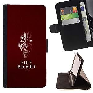Momo Phone Case / Flip Funda de Cuero Case Cover - Fuego y sangre;;;;;;;; - Samsung Galaxy E5 E500