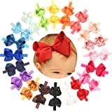 "Baby Girls Headbands Grosgrain Ribbon 4.5"" Hair Bows Headband Big Bow Hair Bands for Toddler Pack of 20"