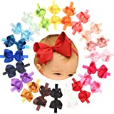 "Baby Girls Solid Ribbon 4.5"" Hair Bows Headbands Big Bow Hair Bands"