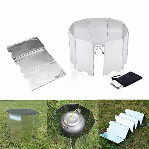 Lovinn - Estufa de Cocina, 9 Placas de Aleación de Aluminio, para Acampada, Estufa de Gas y Parabrisas, Herramientas de Acampada al Aire Libre: Amazon.es: ...