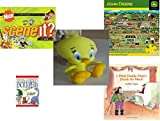 "Children's Gift Bundle - Ages 6-12 [5 Piece] - Scene It? Nickelodeon DVD Board Game - Home of John Deere Puzzle 1000 Piece Puzzle - Tweety Bird Plush From Sylvester and Tweety 9"" - Encyclopedia (You"