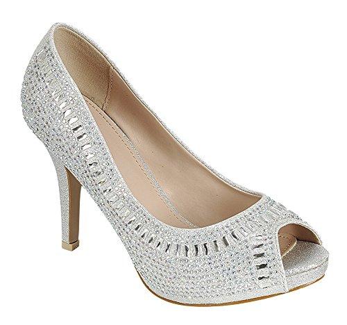 Cambridge Selezionare Donna Peep Toe Cristallo Strass Perline Stiletto Tacco Alto Pompa Argento