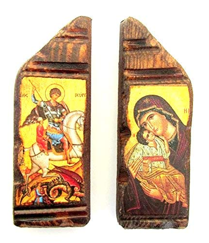 Icon George (Set of 2 Magnet Wooden Greek Christian Orthodox Wood Icon of Virgin Mary and Saint George / A7)