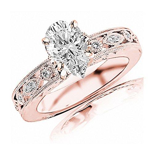 (0.68 Ctw 14K Rose Gold GIA Certified Pear Cut Antique/Vintage Bezel Set Designer Diamond Engagement Ring with Milgrain, 0.5 Ct I-J SI1-SI2 Center)