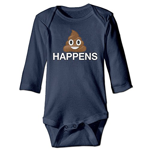 Shit Happens Poop Emoji It Happens Baby-Boys Cotton Comfortable Fashion Long Sleeve Romper (Forrest Gump Outfit)