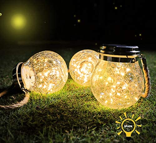 Solar Starry Fairy Glass Mason Jar Lantern, 30 LED Hanging Cracked Glass Jar Solar Lights, Outdoor Waterproof Decorative Landscape Lamps for Patio, Garden, Courtyard and Lawn White Warm Light