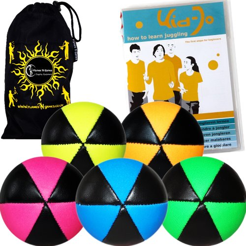 Flames N Games ASTRIX UV Thud Juggling Balls set of 5. Pro 6 Panel Leather Juggling Ball Set + KIDJo Ball Juggling DVD of Tricks (5 languages) & Travel Bag! (Mix of colours) by Flames 'N Games Juggling Ball Set