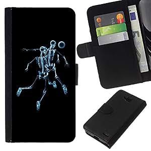All Phone Most Case / Oferta Especial Cáscara Funda de cuero Monedero Cubierta de proteccion Caso / Wallet Case for LG OPTIMUS L90 // Skeleton Skull Soccer