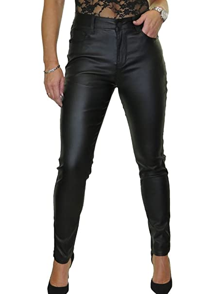 limpid in sight official supplier new high ICE Womens High Waist Stretch Leather Look Jeans 4-16