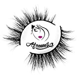 3D Mink False Eyelashes by Afromika, Cross Short Sexy Looking For Makeup 1 Pair Pack, Reusable Steady Flexible Band in Style Florence