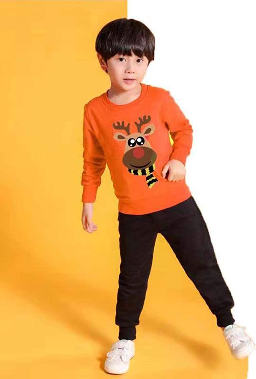 Family Christmas Sweatshirt Deer Print Long Sleeve T-Shirt Tops Matching Fall Winter Blouse Tops Outfits