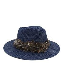 Jianfei LIANG Sombrero de Panamá sombreros de sol for las mujeres de los hombres de paja Toquilla pluma de la cinta Panamá Sombrero de sol de señora elegante de disquete Ala Fedora Playa Cap Sunbonnet