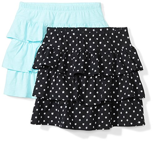 Spotted Zebra Little Girls' 2-Pack Knit Ruffle Scooter Skirts, Stars/Turquoise, Small (6-7) -