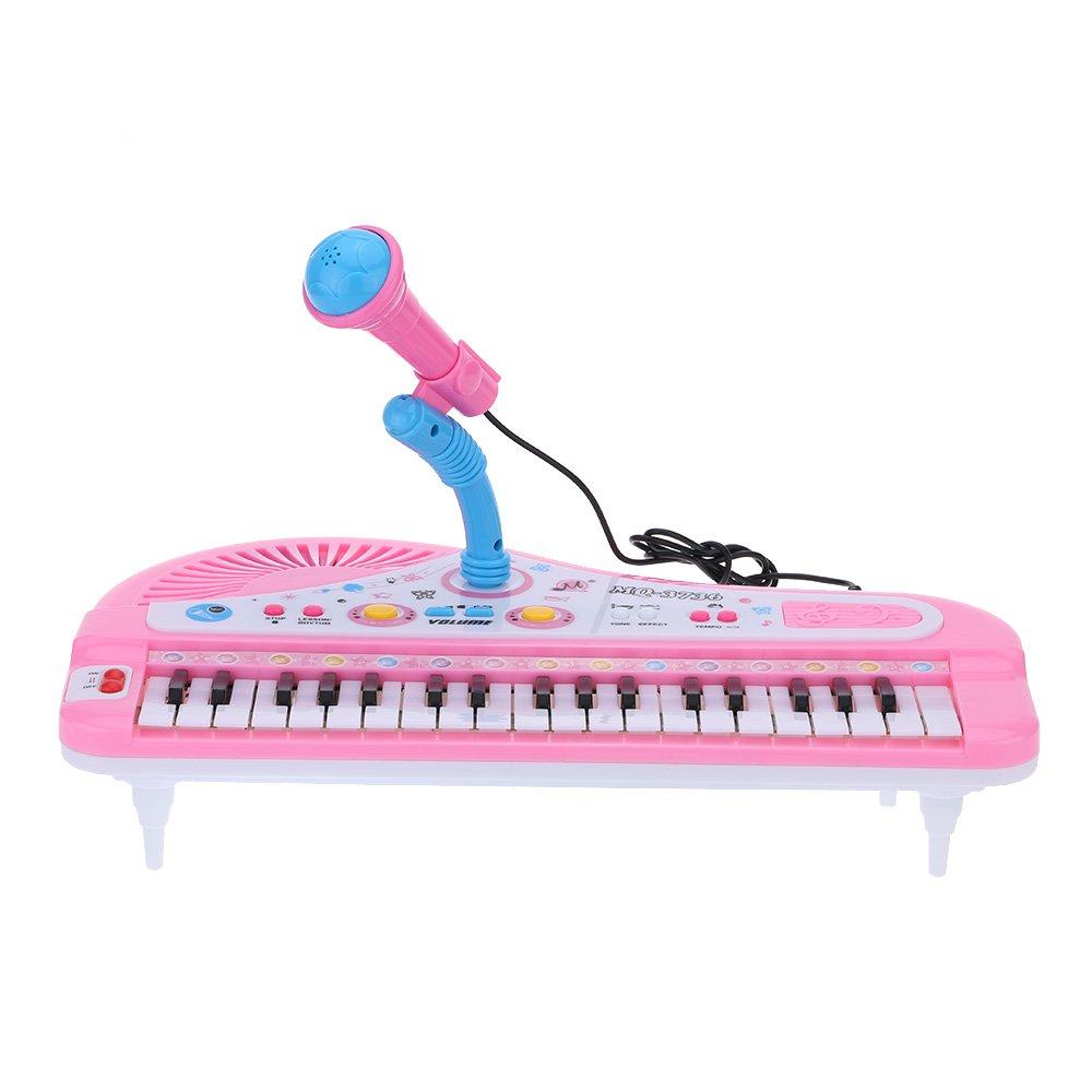 37 Teclas Mini Teclado Electrónico de Música de Juguete con Micrófono Electone Regalo para Niños Principiantes