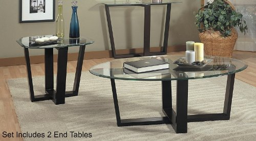 3 Piece Glass Coffee Table & End Tables - Coaster 700275 (7971 Glass)