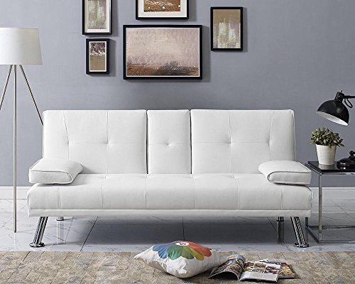 Naomi Home Futon Sofa Bed with Armrest White