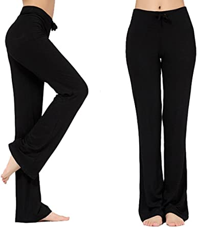 Amazon Com Pantalones Largos Modales Comodos Con Cordon Para Mujer Sueltos Pierna Recta Para Yoga Correr Hacer Deporte Clothing