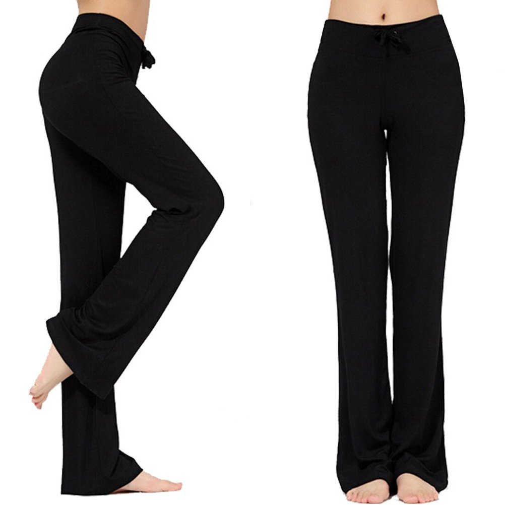 Womens Long Modal Comfy Drawstring Trousers Loose Straight-Leg for Yoga Running Sporting