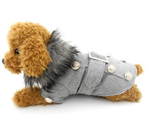 PETLOVE Small Dog Clothing for Girls Boys European Style Woolen Winter Double-breasted Pea Coat Faux Fur Collar Grey -