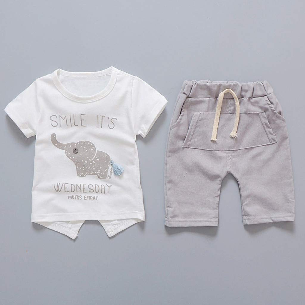 Baby Girls Summer Pajamas Set Cheap,Infant Baby Girls Cartoon Elephant Tee Tops + Shorts Pants(Gray,80) by Wesracia (Image #2)
