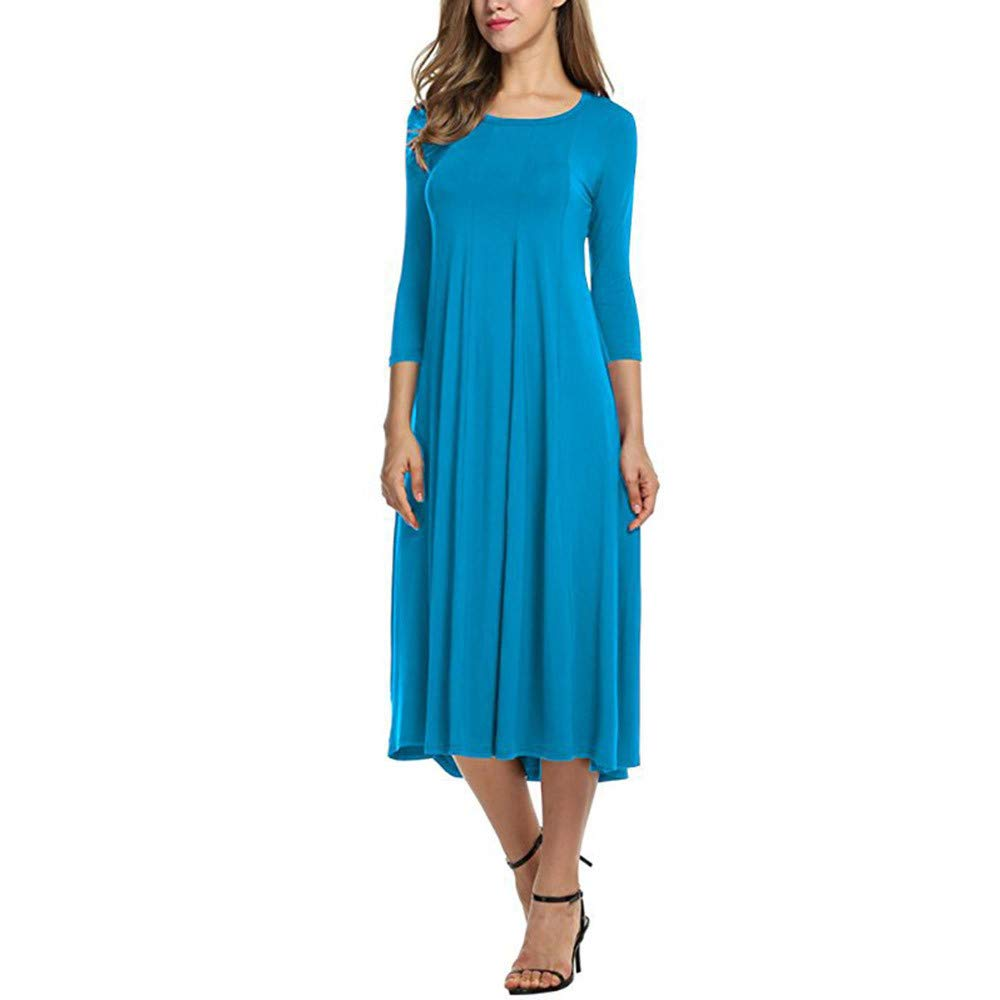 Kaitobe Women's Dresses Ruched Half Sleeve Loose Maxi Dresses Swing A-Line Dress Beach Sundress Evening Party Cocktail Light Blue